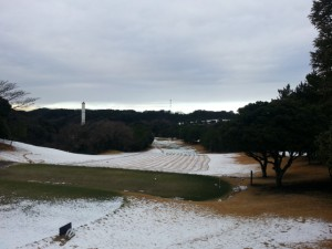 1/18(月)除雪作業後の1番ホール